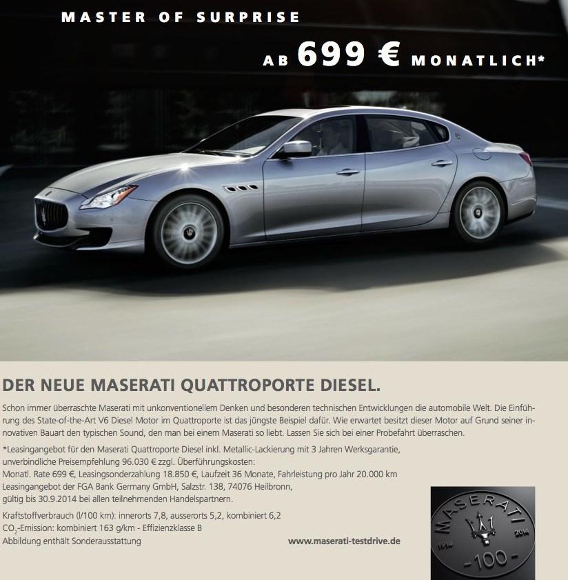 Maserati Quattroporte Diesel Leasing
