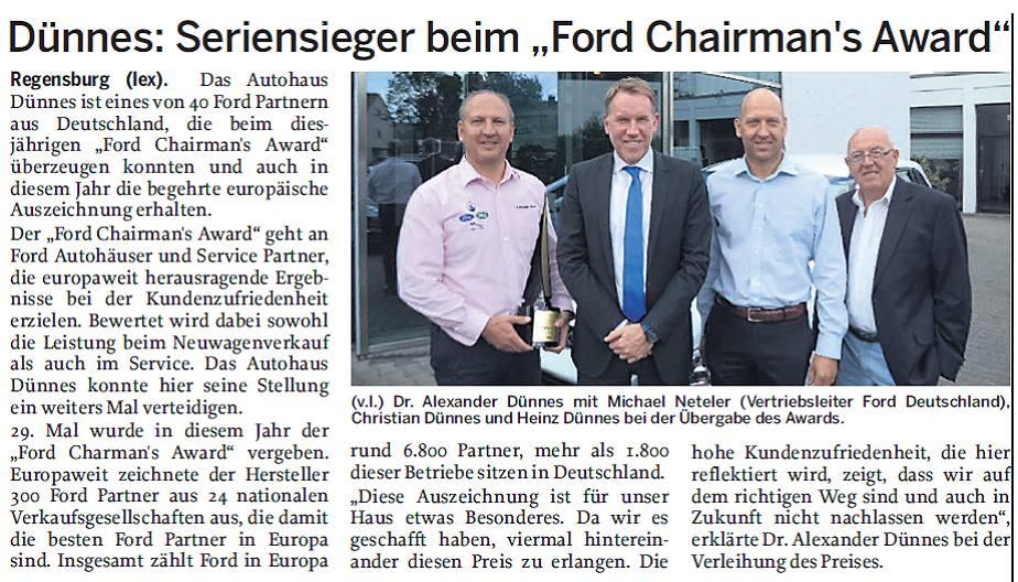 Ford Chairmans Award Sieger