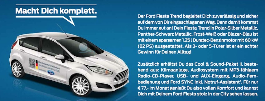 Ford Fiest Trend Bundesfreiwilliger