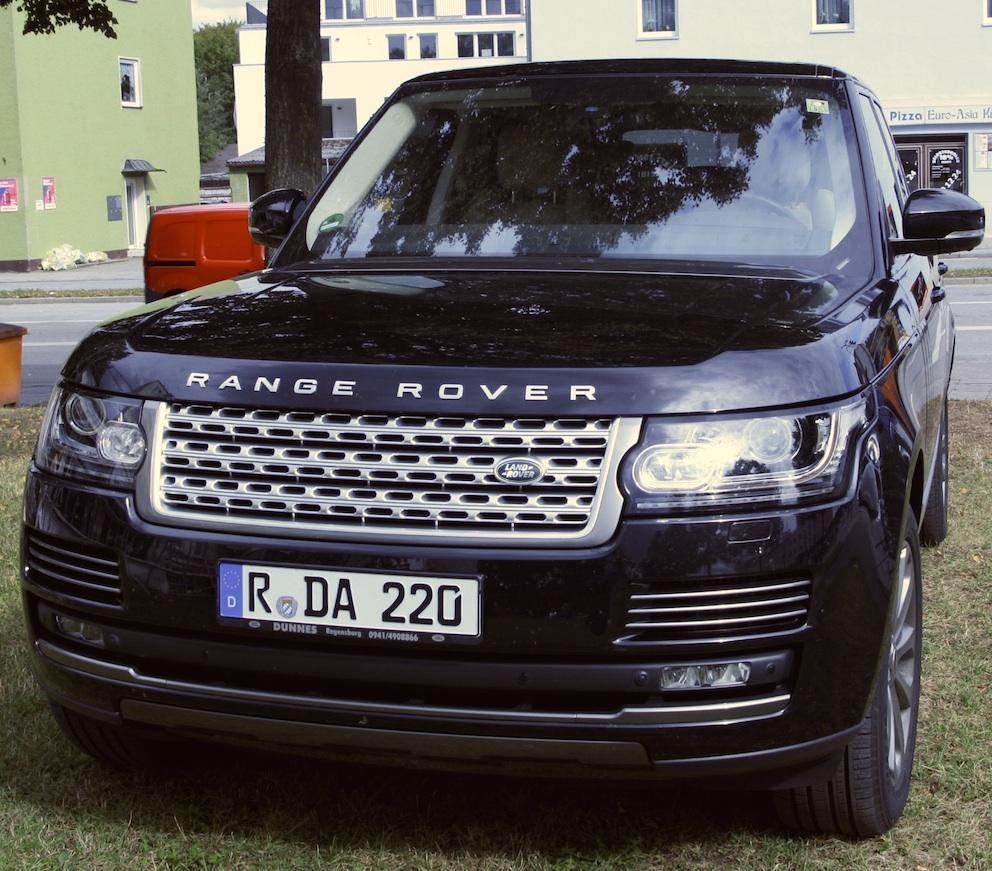 Range Rover vorne Hund