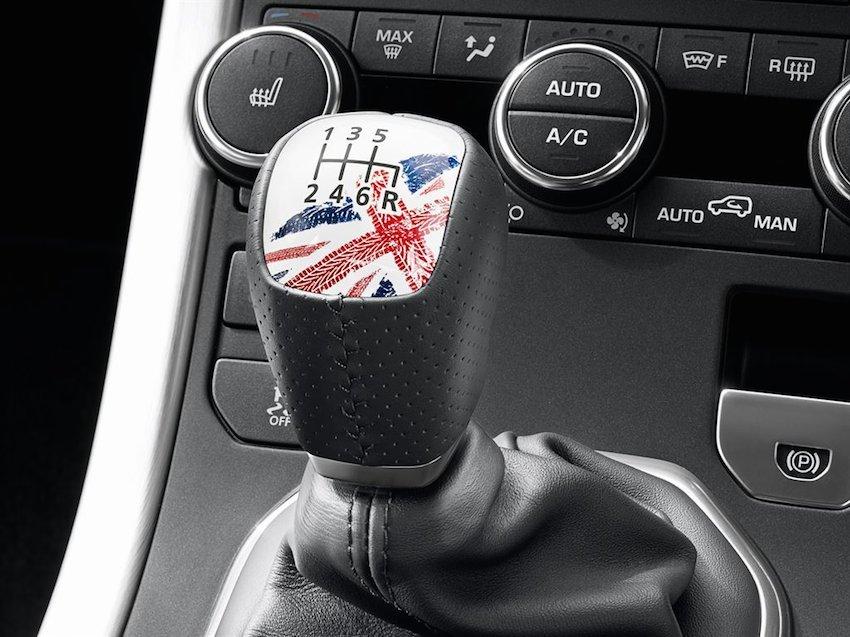 Range Rover Evoque Union Jack Gangschaltung