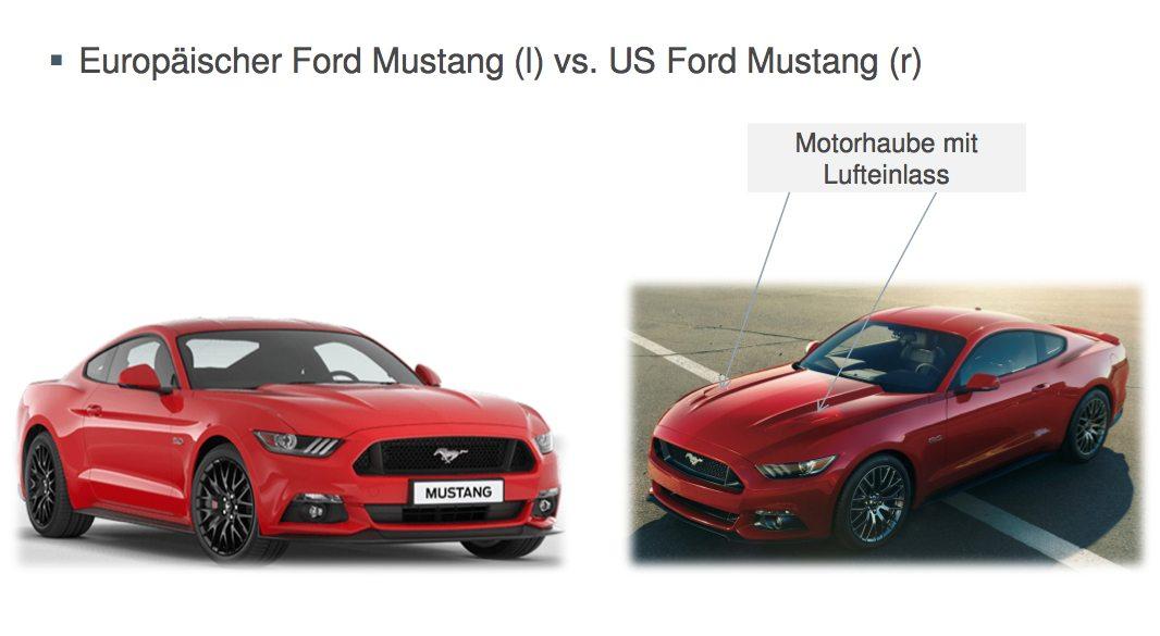 Ford Mustang Motorhaube Unterschiede