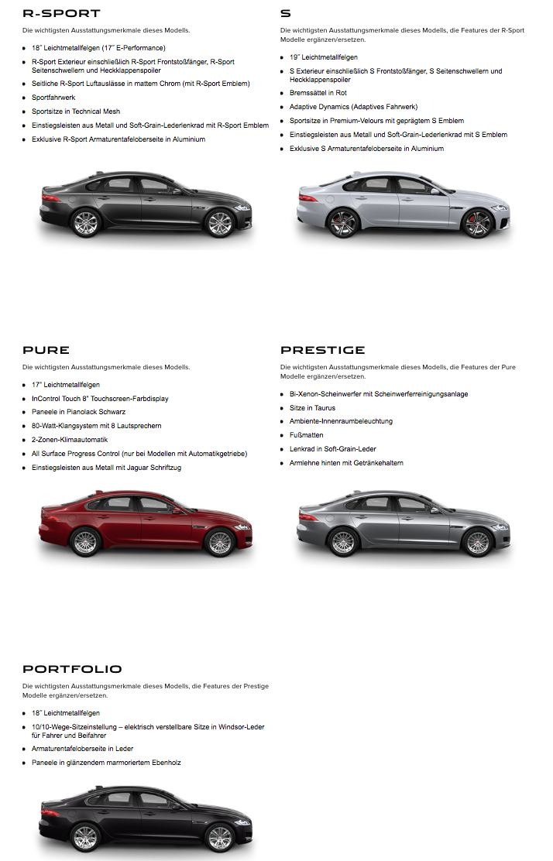 Jaguar XF 2016 verschiedene Modelle