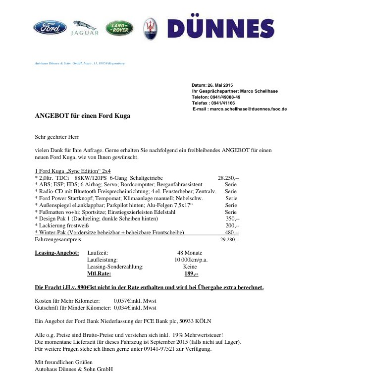 Ford Kuga Leasingangebot