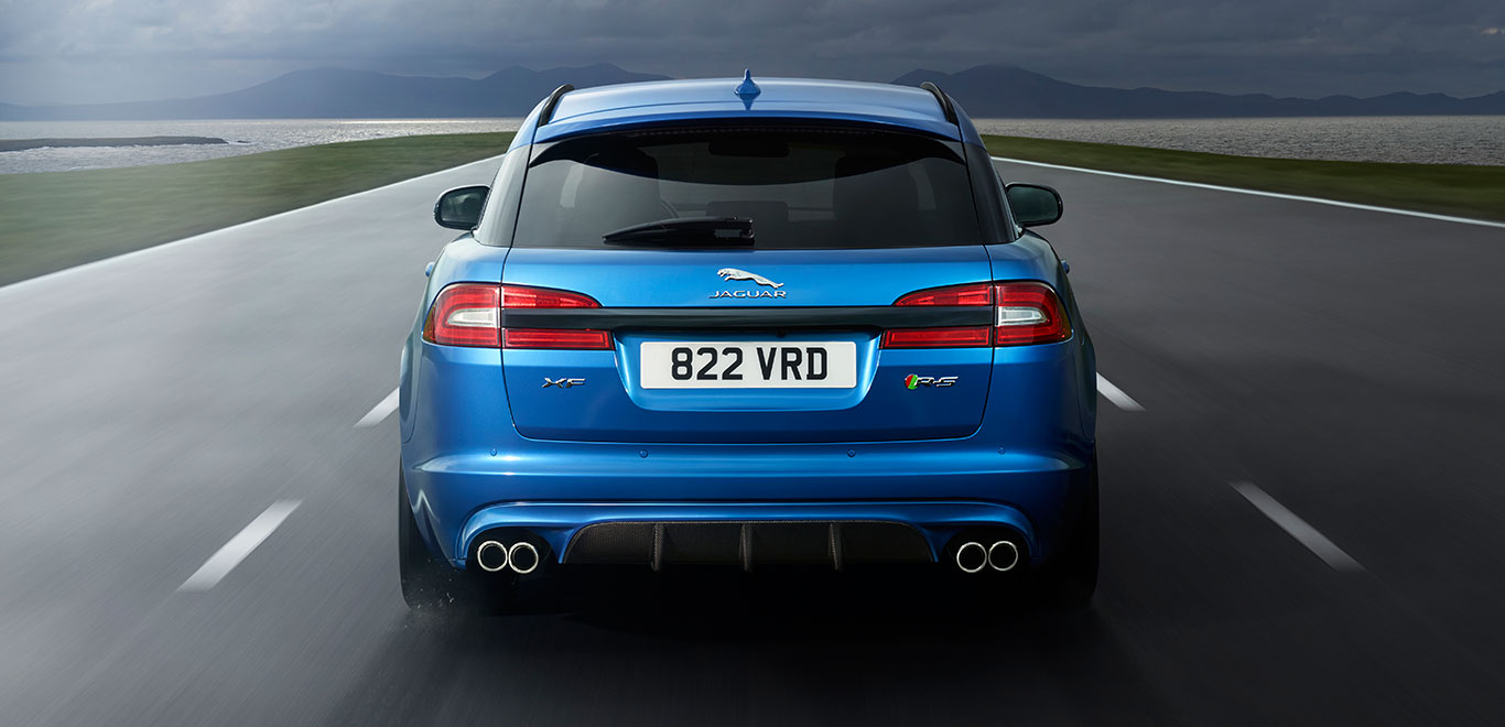 Jaguar Kombi blau hinten
