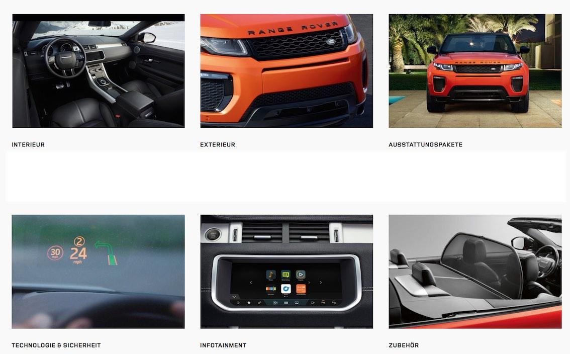 Evoque Cabrio 2017 Ausstattungspakete