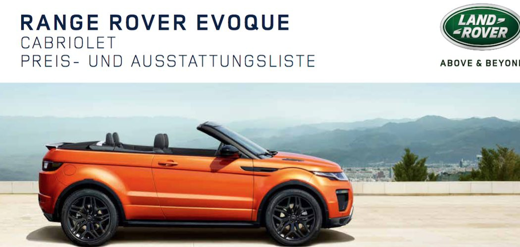range rover evoque cabrio preis preisliste. Black Bedroom Furniture Sets. Home Design Ideas