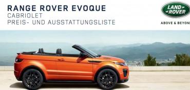 Range Rover Evoque Cabrio Preisliste