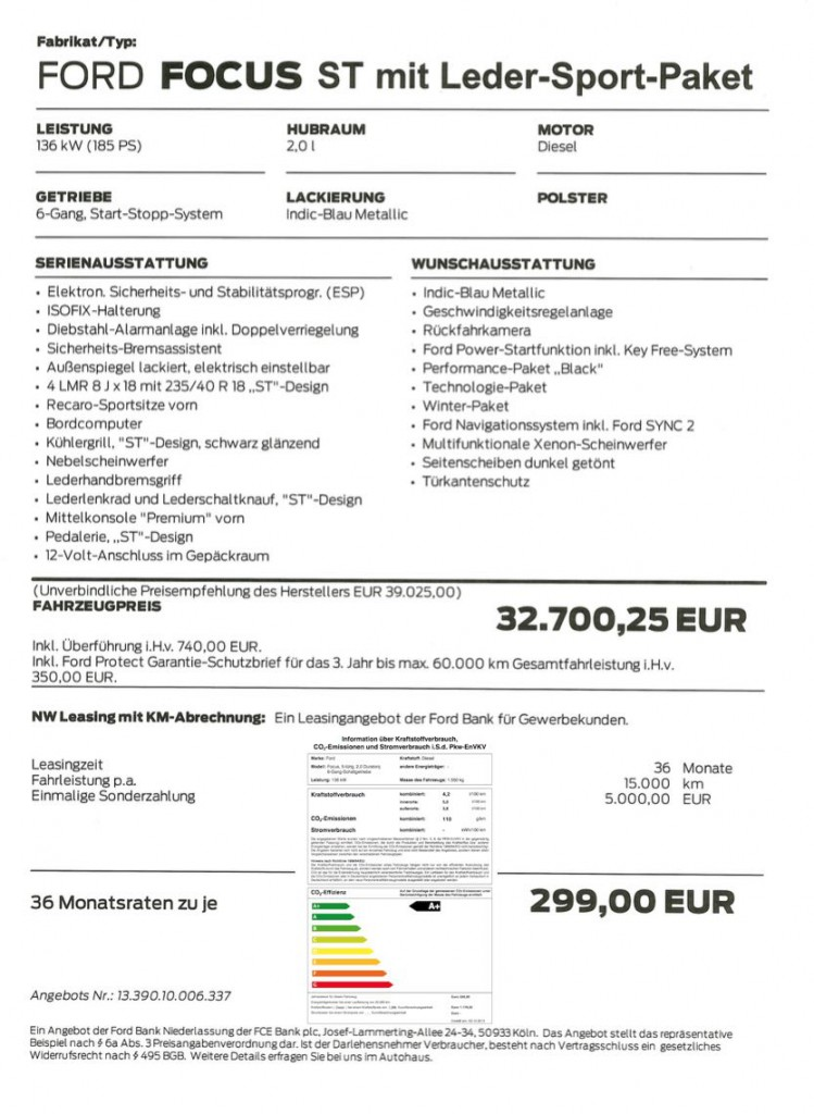 Ford Focus ST Leasing Angebot