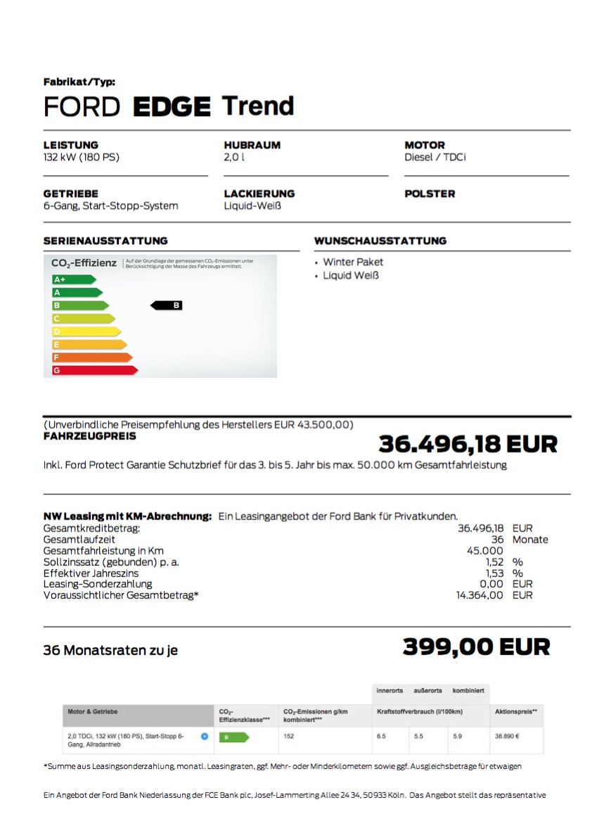 Ford Edge  Leasing Angebot  Monate