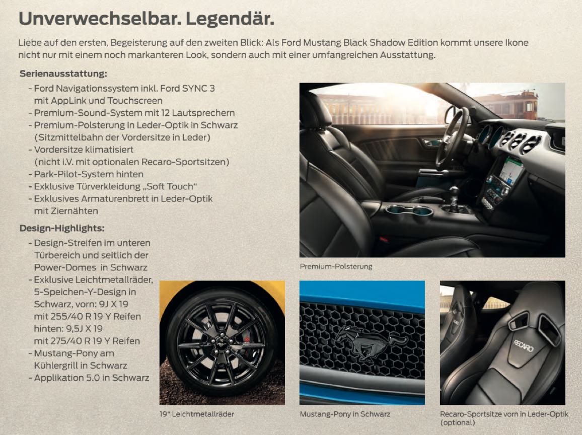 Ford Mustang Black Shadow Sondedition Design Highlights