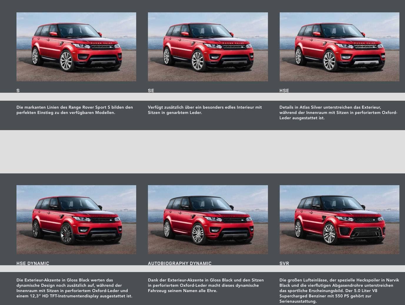 Range Rover Sport 2017 Auswahl Modelle