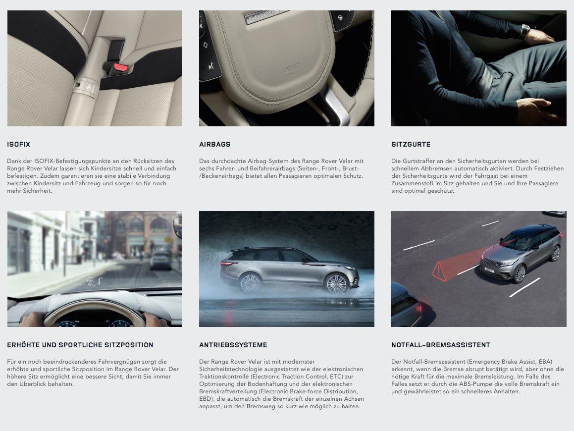 Range Rover Velar 2017 Assistenzsysteme