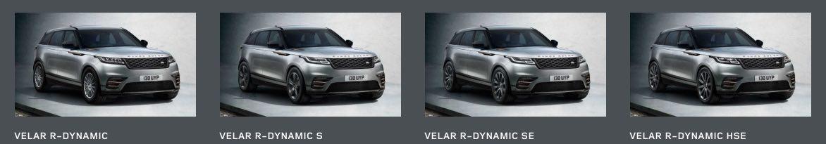 Range Rover Velar verschiedene Modelle