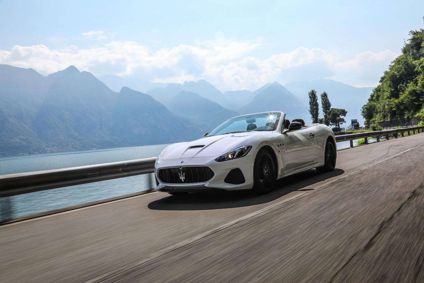 Maserati GranCabrio weiß Fahrt Gardasee Kopie