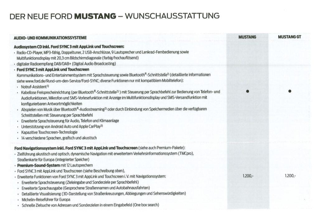 Ford Mustang preisliste 2018 Teil 8