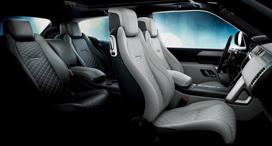 Range Rover SV Coupe Innenausstattung Schwarz Weiss