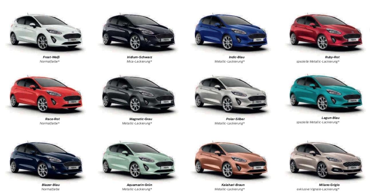 Ford Fiesta 2018 Farben