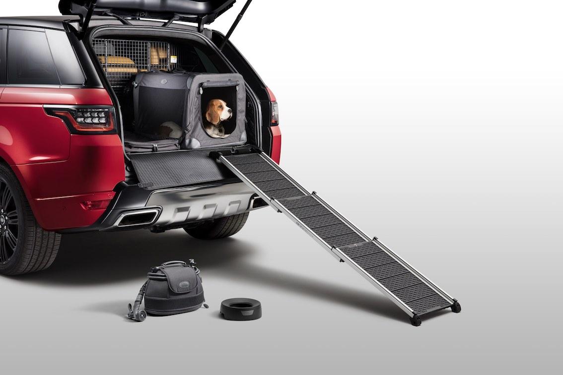 Land Rover Hunde Gehrampe aus Kofferraum