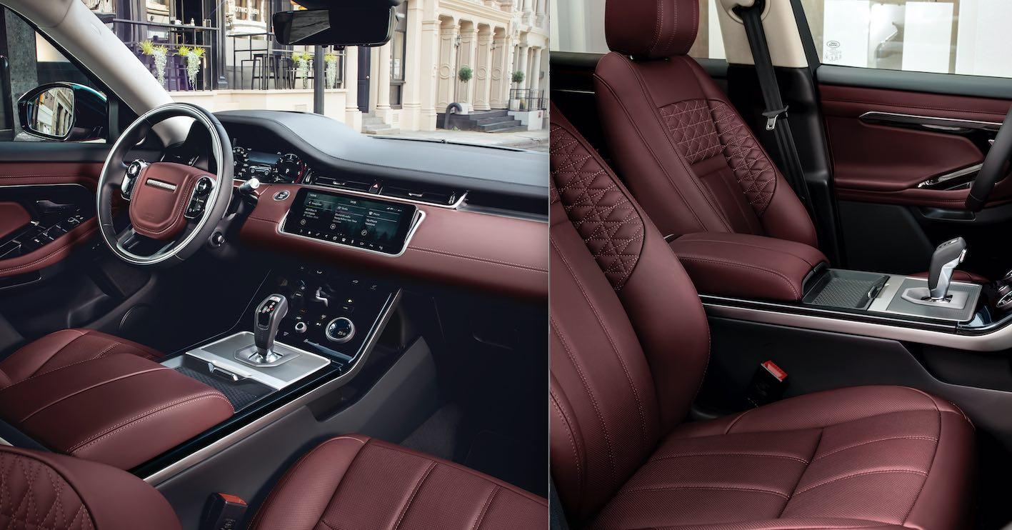 Range Rover Evoque neues Modell 2020 Innenausstattung Leder Rot