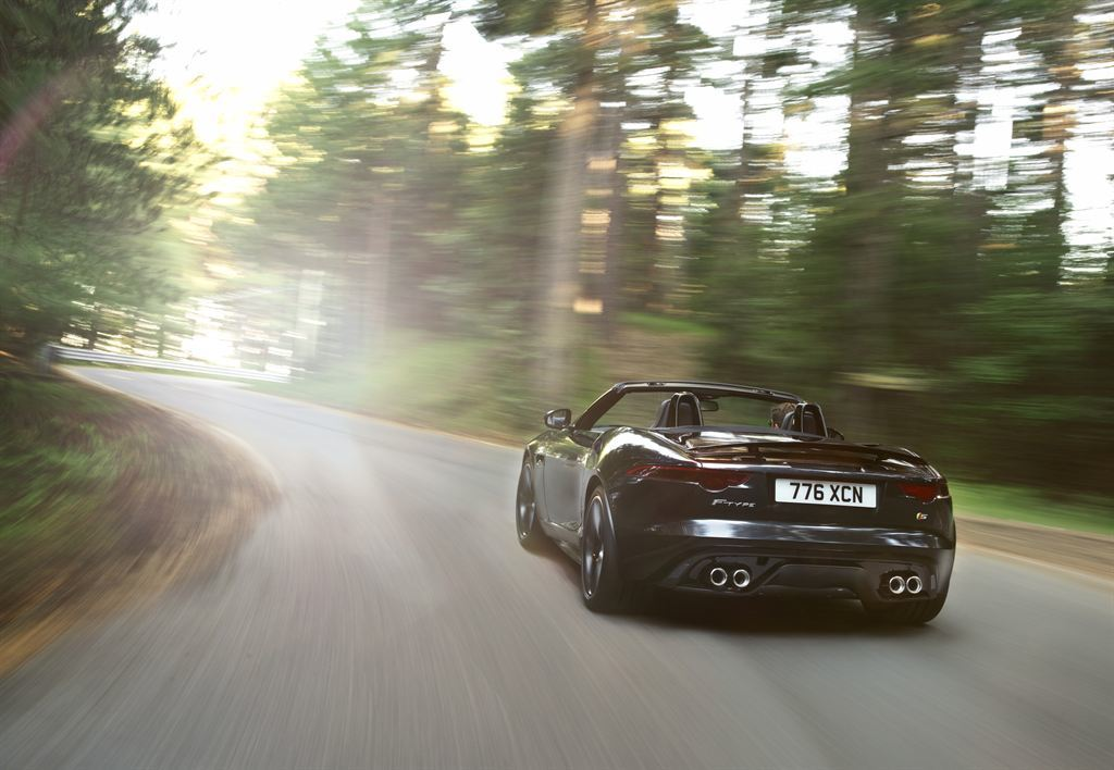 Jaguar F Type Cabrio schwarz hinten