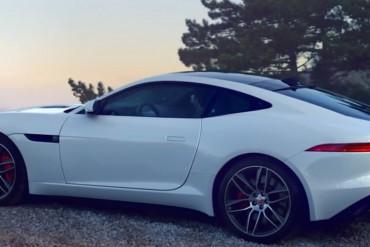 Jaguar F Type Coupe R weiss Rennen Stadt